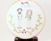 "CUSTOM 6"" Couple Wall Art Hoop hand embroidered wall art personalized ooak"