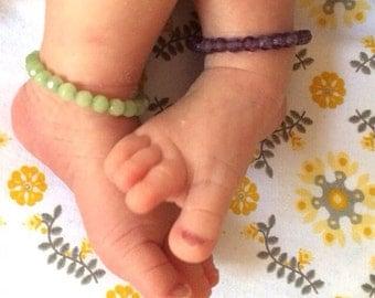 Twin Baby bracelets - baby anklets - toddler bracelet-twin bracelet-twin jewelry - baby bracelets-amethyst-baby gift-hospital bracelet