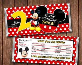 ANY AGE & NAME - Mickey Mouse 1st 2nd Birthday Party 1.55 oz Hershey Candy Bar Wrapper - Red Yellow Blue Green Black - Printable