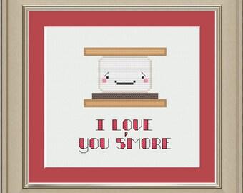 I love you s'more: cute s'more cross-stitch pattern