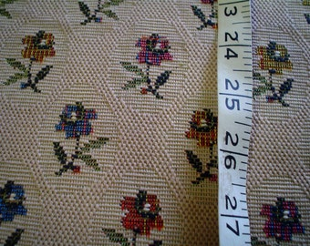 """60s 52"""" x 30"""" Cotton Brocade Upholstery Home Decor Fabric Beige Floral"""