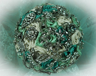 Ivory, Light Green and Aquamarine Wedding Brooch Bouquet, Bridal Bouquet, Rose Bouquet, Silk Wedding Bouquet, Bridesmaid Bouquet