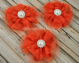 """Orange Lace and Tulle Flower with 18mm Pearl Rhinestone Center 3.5"""" - 3 Pieces"""