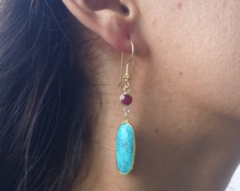 Dangling Turquoise and Raw Ruby Earrings; bezelded raw ruby and bezeled turquoise pendants