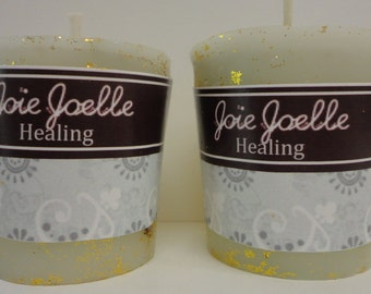Healing White Votive  Spell  Candle Dressed with Herbs, Altar Candle, Spiritual Candle, Dressed Candle