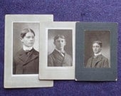 Brothers Three Original Black and White Studio Portraits Cabinet Cards Early 1900s