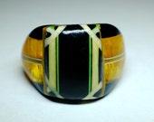 """Vintage Celluloid Bakelite Folk Art Prison Ring - Signed """"Bob Dodd"""" (Size 8-1/2)"""