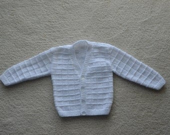 Hand knitted white v neck baby cardigan for age 6 - 12 months
