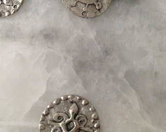 Tibetan Symbol of Faith, 2- Sided, Yoga, Silver, Pewter,Charm