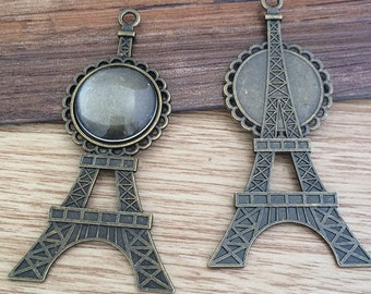 5set  20mm anitque bronze Eiffel Tower  Pendant Trays with Glass Cabochons