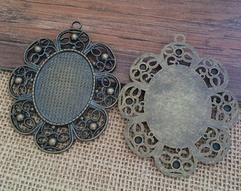 5set  30mmx40mm Antique Bronze  Oval Pendant Trays with Glass Cabochons F520
