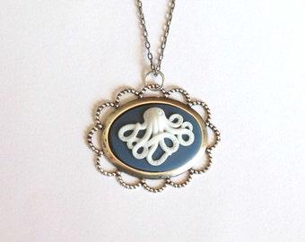Nautical Octopus Cameo Necklace on Antique Silver Tone Necklace - Blue Seaside, Ocean, Marine Theme