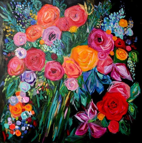 Sale large bold abstract floral still life bright bouquet for Bright flower painting