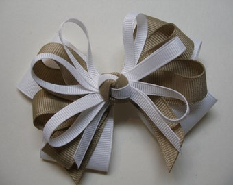 White & Khaki Hair Bow Back to School Uniform Layered Boutique