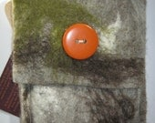 Moody grey and greens Felted Pouch with big Orange button.