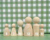 wood peg dolls Family of 6 eco friendly Wooden pocket doll / gnomes - Children Spring Toy, home Decoration, party favors