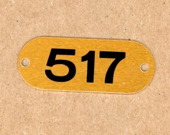 Number 517 - 1 Aluminum Metal Number Tags School Locker Plates for Altered Art in Brass
