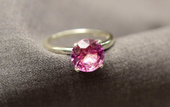 Pink Tourmaline Ring in Sterling Silver, 2ct Ring, Bridesmaids Gift, October Birthstone, Engagement Ring, Proposal Ring, Abish Jewelry Works