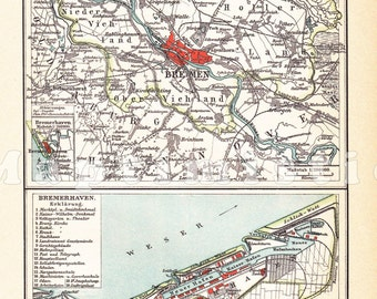 1898 Hanseatic City of Bremen and Bremerhaven at the end of the 19th Century Original Dated Antique Map