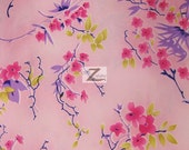 """Quince Blossom Floral Satin Fabric - PINK - 58"""" Width Sold By The Yard"""