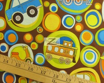 """Transportation On The Go Brown By Riley Blake 100% Cotton Fabric - 45"""" Width Sold By The Yard (FH-396)"""