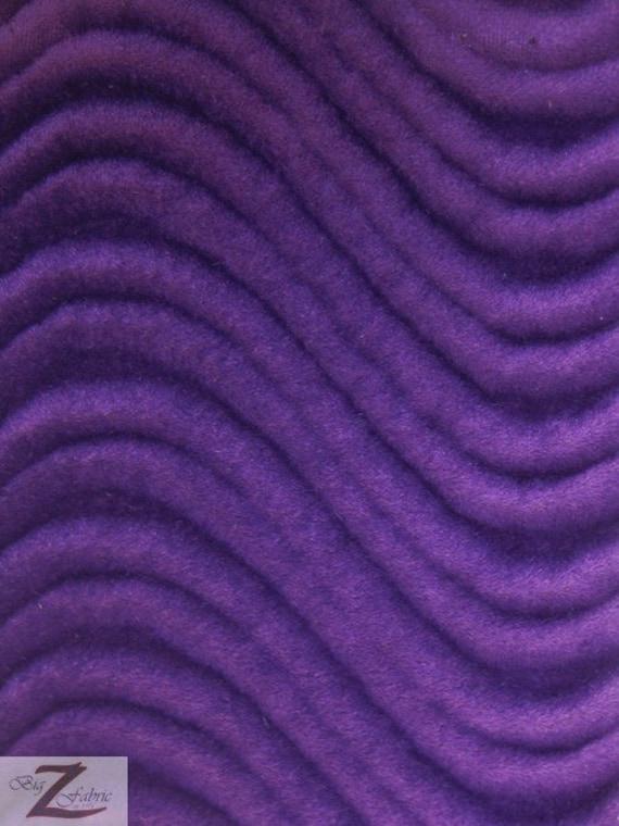 Wavy velvet upholstery fabric purple 60 width sold for Purple upholstery fabric