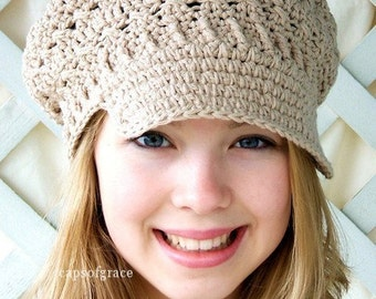 Crochet Hat Pattern Slouchy Womens Newsgirl Newsboy Hat PDF 160 12 Month to Adult Instant Download