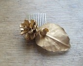 Rustic Golden Leaf Hair Comb with Natural Pine Nut Boho Woodland Hair Accessories Grecian Goddess Costume