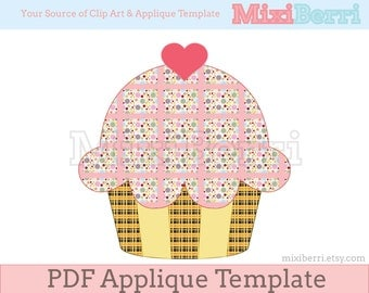 Cupcake Applique Template PDF / Applique Pattern Instant Download