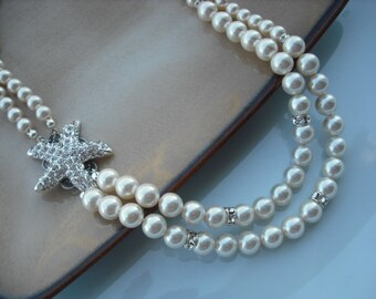 STARFISH Version 4, Beach Theme Necklace, Bridal Necklace, Rhinestone and Pearl Necklace, Vintage Style Necklace, Wedding Jewelry