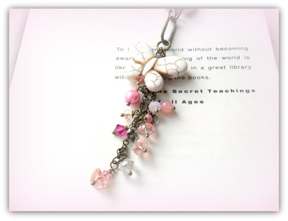 Pink Medley Charm Butterfly Pearl Crystal Necklace