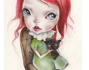 """original tiny..drawing,ink graphite on fine art paper....""""saly""""from mystery"""""""