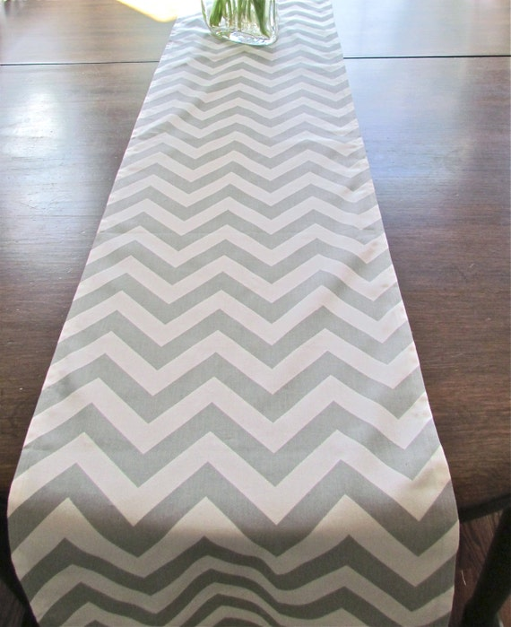Sale TABLE RUNNER  GRAY Chevron Table Runners Wedding Shower Decorative Table Cloth Silver Holiday Party Table Runner 48 60 72 84 96