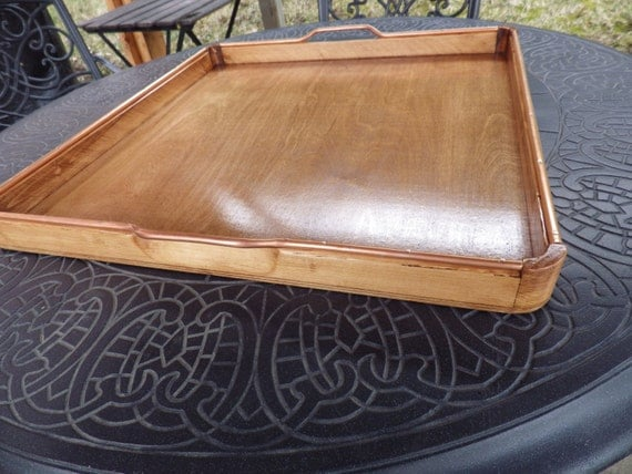 Large ottoman serving tray made of pine wood and by
