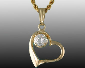 Heart Pendant with 7mm CZ in 14k Yellow Gold