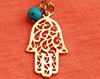 Hamsa Hand Necklace - Gold Hamsa Pendant Necklace - Charm Necklace - Lucky Necklace - Lucky Charm - Tiny Hamsa Hand