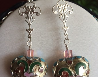 Pink Vintage Cloisonné Heart earrings