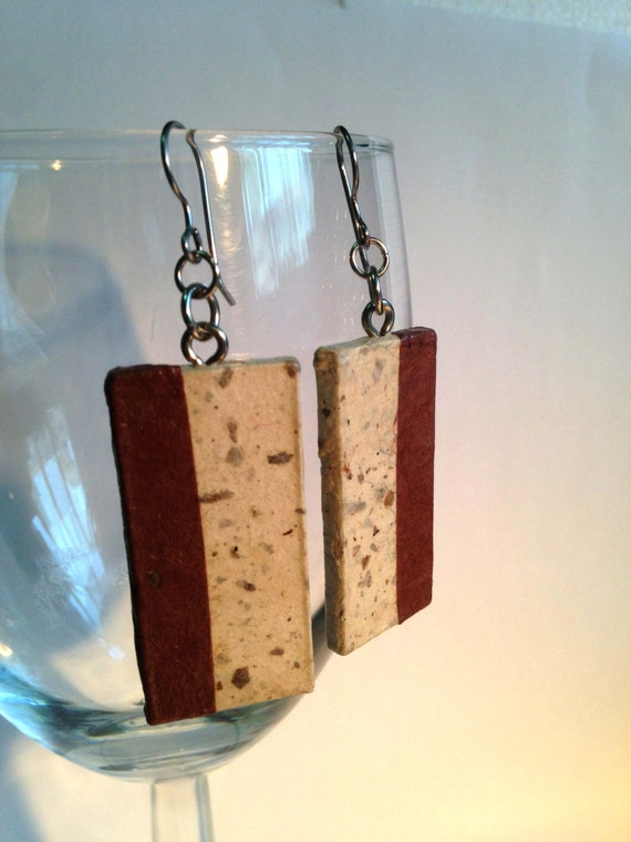 Brown Striped Hanji Paper Dangle Earrings OOAK Striped Beige Brown Hypoallergenic hooks Lightweight
