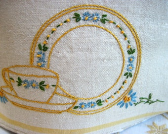 Handmade Tea Cozy with Vintage Embroidery for a 4-6 Cup Teapot