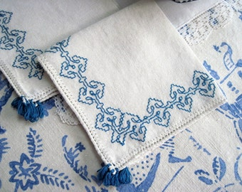 Linen Tea Napkins with Blue Embroidery, Set of 2