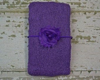 Purple Knit Wrap Set with Free Headband for Newborn Photo Shoot, Maternity Prop, Newborn Photo Wrap, Infant Photography, Infant Photo