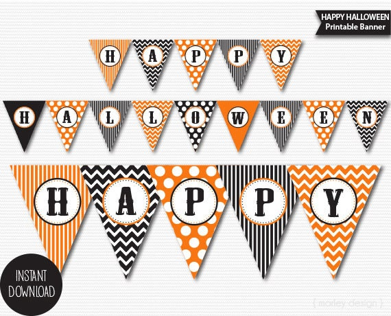 halloween banner printable halloween decorations halloween party decor halloween printables chevron polka dots printable halloween banner