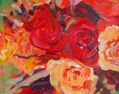 Flower painting Red rose art Painting of roses Floral abstract Pretty flowers painting  8 X 10 Acrylic on paper Garima Parakh
