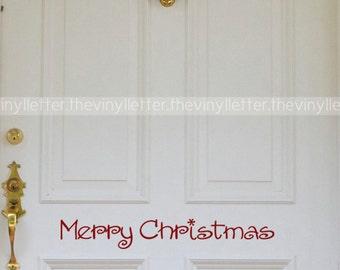 Merry Christmas Burst Door Wall Vinyl Decal Home Decor Sticker