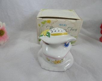 Vintage 1980 Avon Flirtatious Frog Ceramic Pomander with Original Box