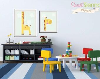 Safari Themed Nursery, Kids Wall Art, Baby Boy or Girl Nursery, Baby Gift, Nursery Decor, Nursery Print, Playroom Art Giraffe 2x 8x10 PDF