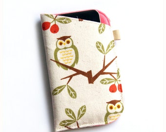 Owls Fabric iPhone 7 Case, iPhone 7 Plus Sleeve, iPhone 6 case, Samsung Galaxy Phone Wallet, Padded Phone Case