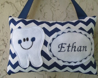 Tooth Fairy Pillow Navy Chevron Personalized