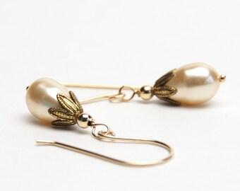 Light Gold Earrings - Swarovski Crystal Pearl Earrings on Gold Filled Earwires