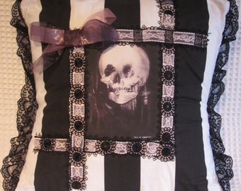 Gothic Victorian Lady / Skull Cushion